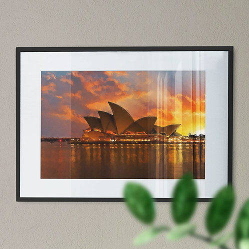 Digital Wall Art Print of Sydney Opera House with Grey, Orange and Yellow Sky