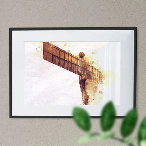 Iconic Angel of The North - Watercolour Effect on White Background
