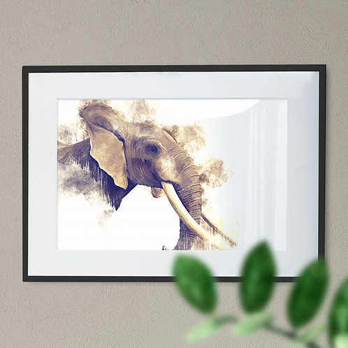 Watercolour Image of a African Elephant on White Background Wall Art Print
