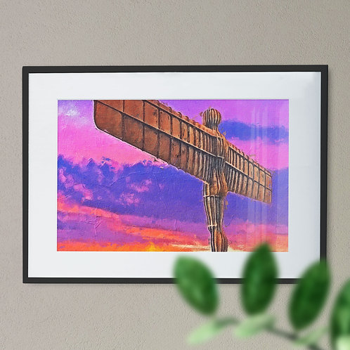 A Digital Wall Art Print of The Angel of The North Rough Brush Purple