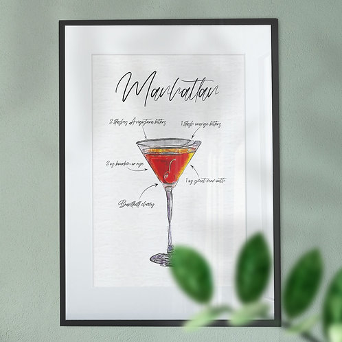 Wall Art Print - Watercolour of a Manhattan Cocktail & Ingredients