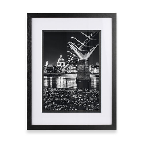 Millennium Bridge and St Paul's Photographic Black and White Print