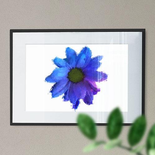 Blue Flower Digital Wall Art Print with a Rough Brushstroke Effect
