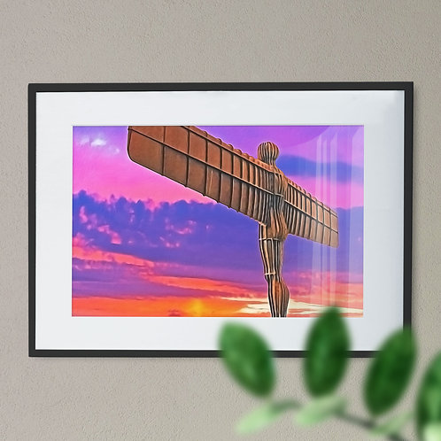 A Digital Wall Art Print of The Angel of The North  Purple and Orange Back