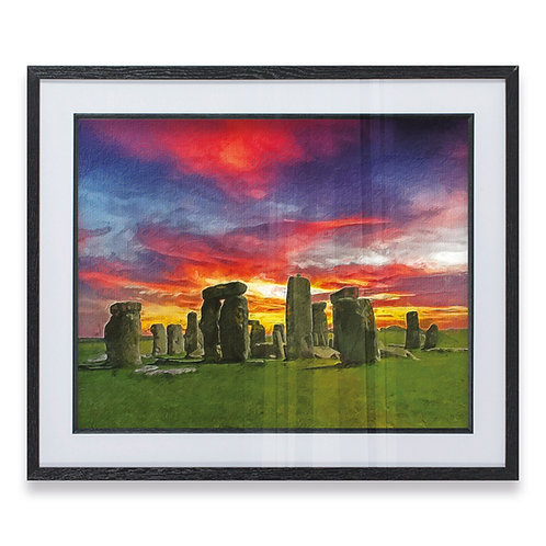 Stone Henge at Night with Blue, Red and Yellow Sky - Framed Print
