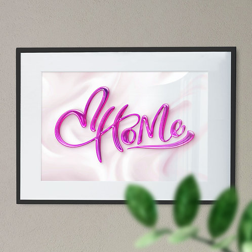 Home with Silk Effect Background and Berry Colour Font Word Art Print