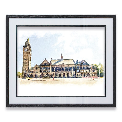 Front Elevation Of Grade 1 Listed Rochdale Town Hall Oil Painting - Framed Print