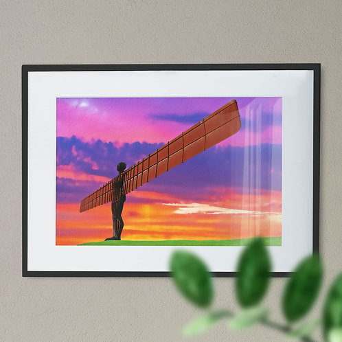 A Digital Wall Art Print of The Angel of The North Light Brush Purple and Orange