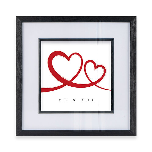 2 Red Hearts Linked - Me and You Wall Art Print, Ideal  Gift