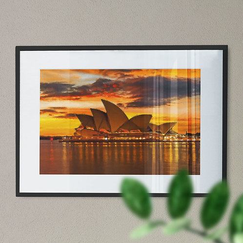 A Print of Sydney Opera House with Yellow Sky Wall Art Print