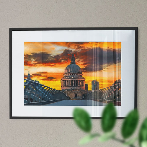 A Wall Art Print of St Pauls Cathedral and Millennium Bridge withYellow Sky