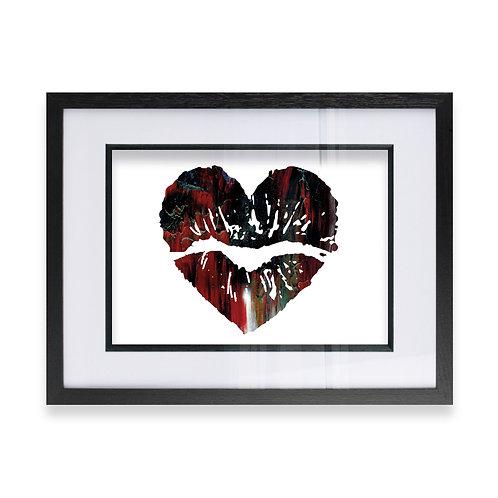 Love Heart Lip Effect Wall Art Print in Black & Red, Ideal Gift