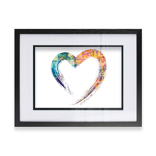 Multicoloured Abstract Love Heart Effect Wall Art Print, Ideal Gift