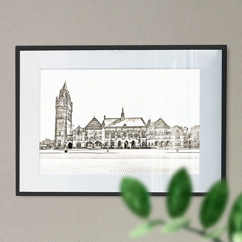 Rochdale Town Hall Line Drawing with Sepia Effect Wall Art Print