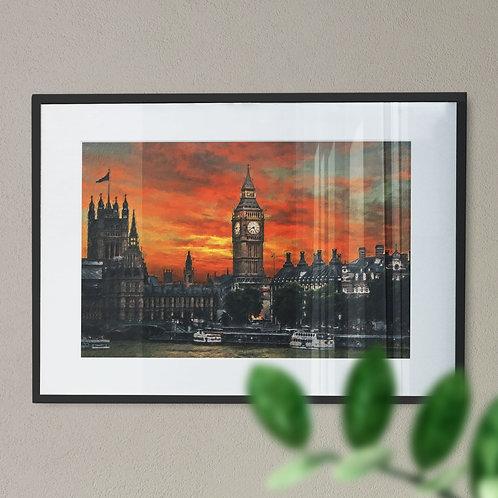 A Wall Art Print of Big Ben at Night with Orange Sky