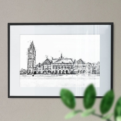 Rochdale Town Hall Grunge Effect Black and White - Wall Art Print