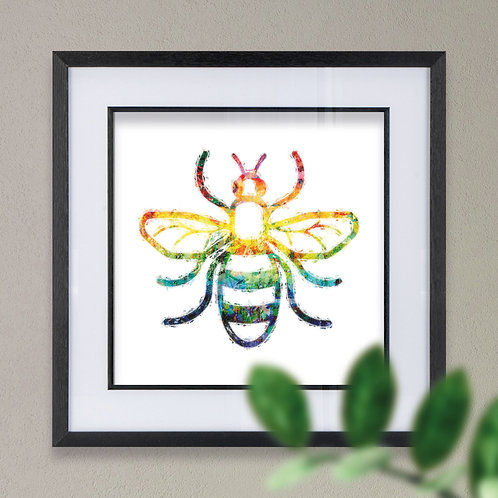 Framed Manchester Bee Grunge Effect Wall Art Print