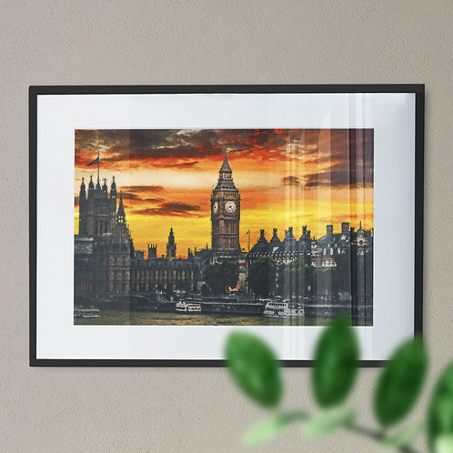 A Wall Art Print of Big Ben at Night with Yellow Sky