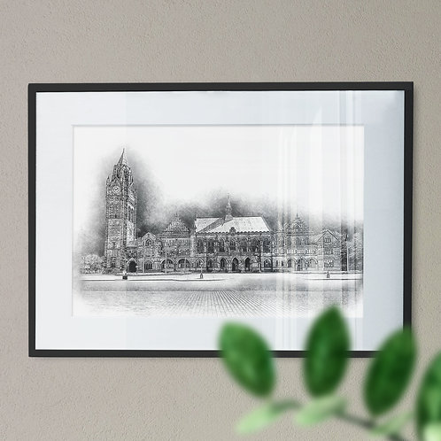 Historic Rochdale Town Hall Wall Art Print - Pencil Drawing