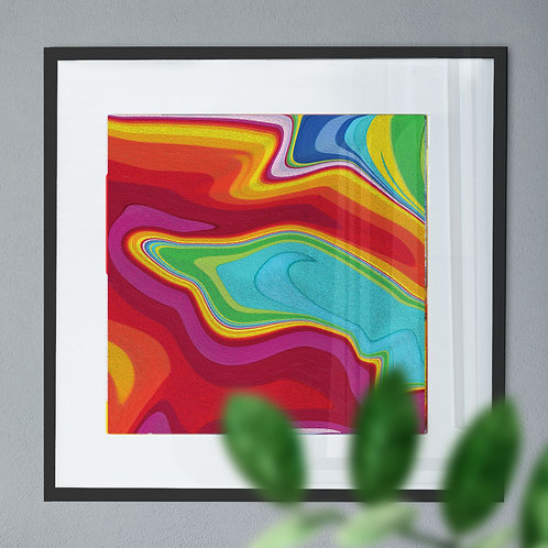 Abstract Wall Art Print of a Rainbow Liquid