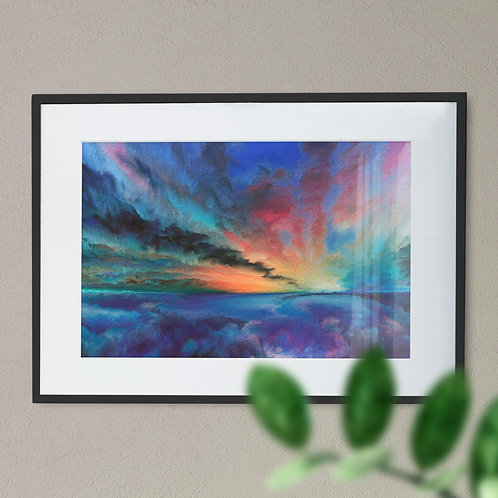 Atmospheric Rough Sea and Sky Digital Wall Art Print (Abstract)
