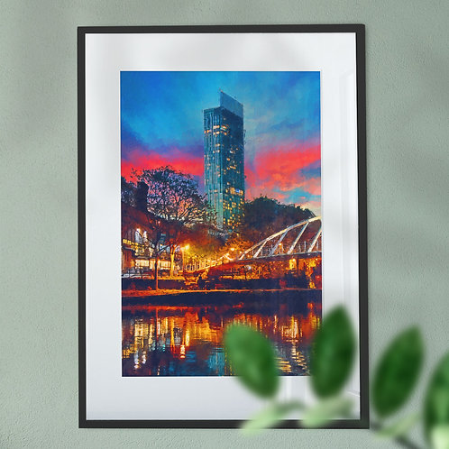 Beetham Tower Manchester with Red and Blue Sky Wall Art Print