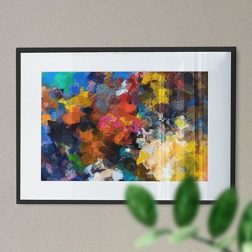 Multi-Coloured Paint Splash Wall Art Print (Abstract)