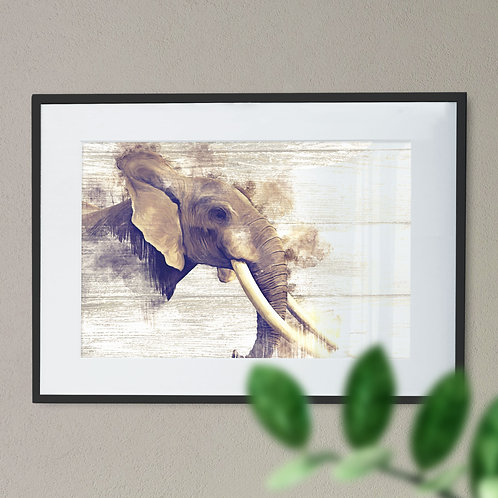 Stunning Watercolour Image of a African Elephant Wall Art Print Wood Effect