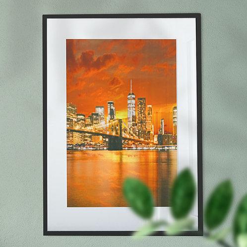 Manhattan and Brooklyn Bridge at Night Wall Art Print