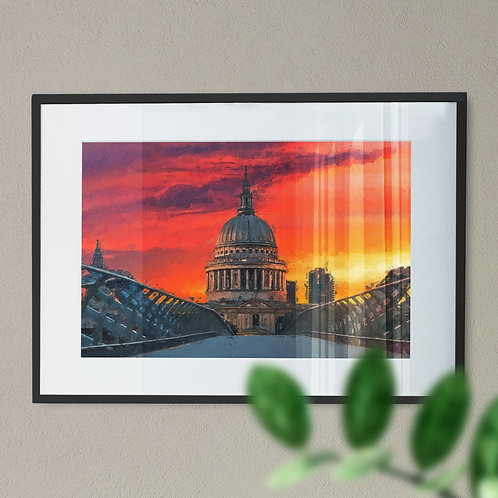 A Wall Art Print of St Pauls Cathedral and Millennium Bridge with Red & Yellow