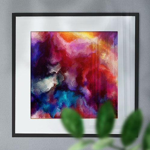 Modern Multi Coloured Digital Wall Art Print in Reds, Blues & Yellows (Abstract)