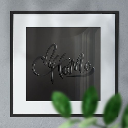 Home with Love Heart on Left Gloss Effect Wall Art Print