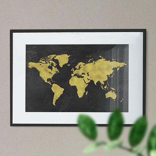 Map of the world in Black and Gold Wall Art Print