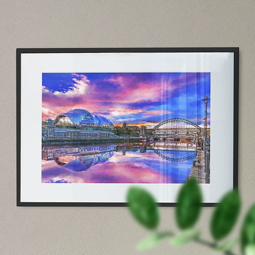 Wall Art Print of the River Tyne, Newcastle with Colourful Sky