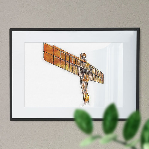Pen and Watercolour Wall Art Print of The Angel of the North Back View