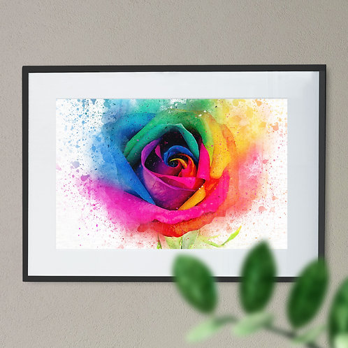 A Watercolour Painting - Wall Art Print of a Rainbow Rose