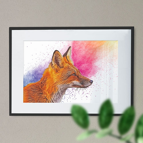 Fox on Explosion of Colour Digital Wall Art Print