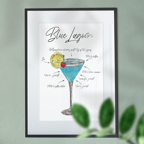 Wall Art Print - Watercolour of a Blue Lagoon Cocktail with Ingredients