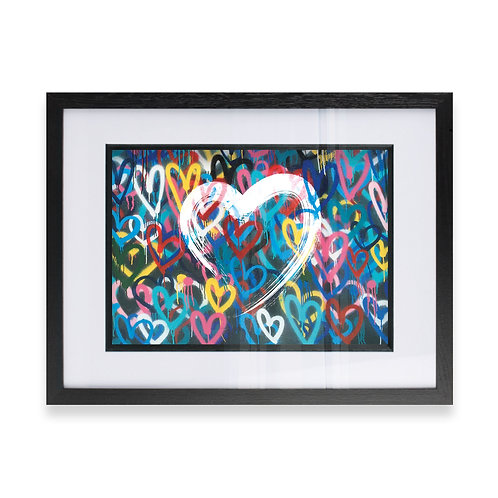 Abstract Love Heart on Hearts background Wall Art Print, Ideal  G