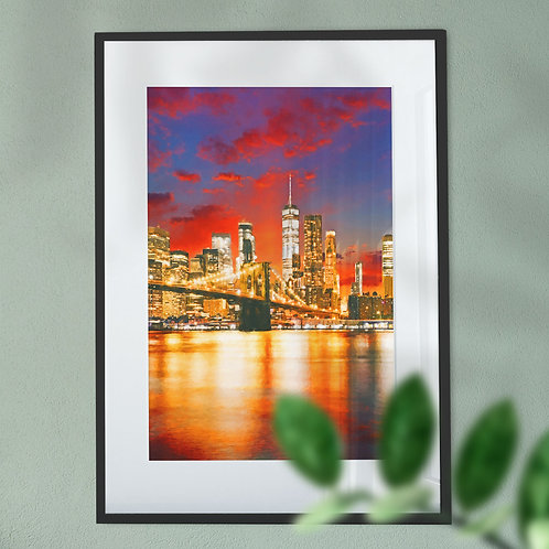 Manhattan and Brooklyn Bridge at Night with a Blue and Red Sky Wall Art Print