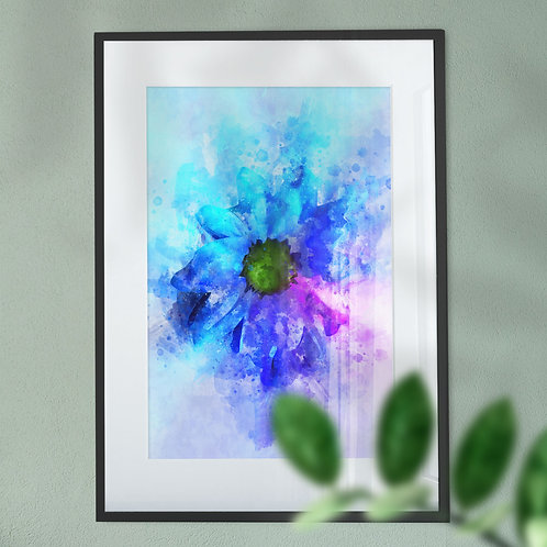 Wall Art Print of a Blue Flower with an Explsion Effect