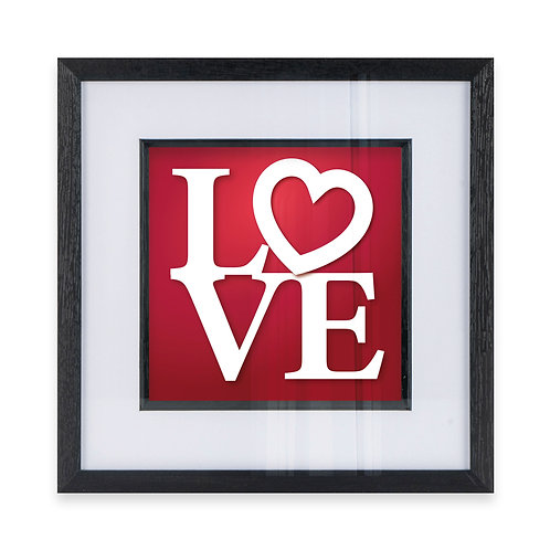 LOVE Typography with a heart Wall Art Print in Red, Ideal Gift