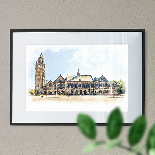 Front Of Grade 1 Listed Rochdale Town Hall Oil Painting Effect - Wall Art Print