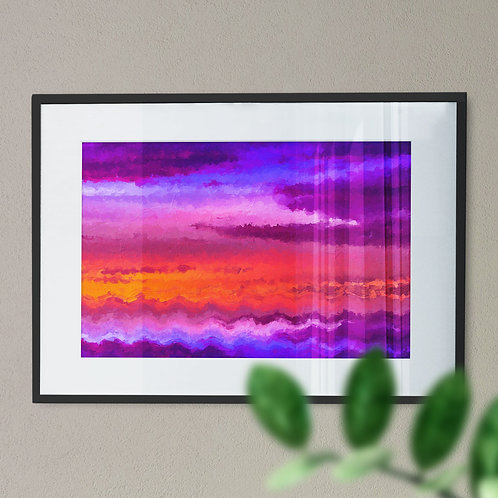 Pink Wave Digital Wall Art Print with Oil Painting Effect (Abstract)