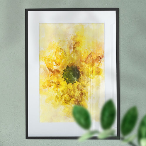 Yellow Gerbera Flower Wall Art Print with an Explosion Effect