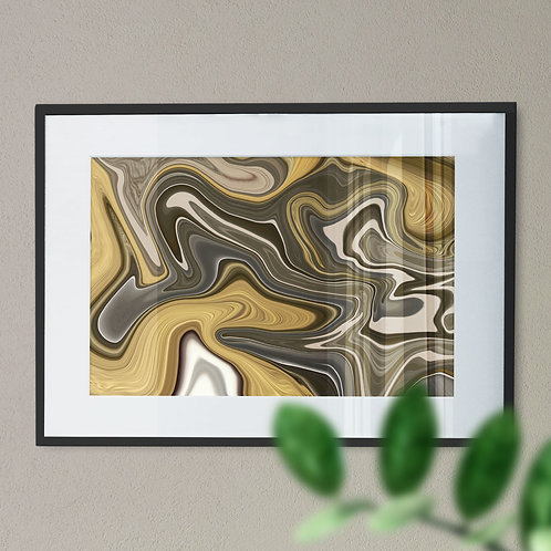 Gold and Brown Marble Effect Wall Art Print (Abstract)
