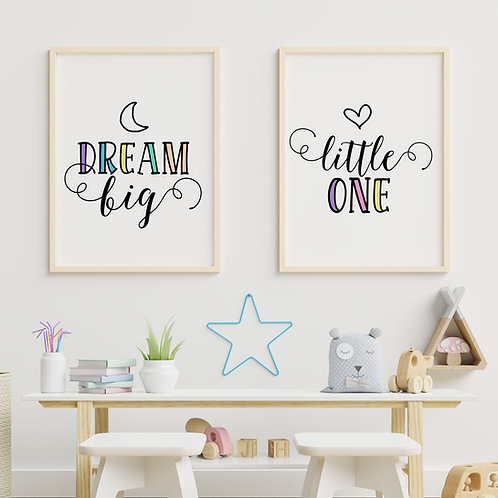 A Set of 2 Art Prints  - Dream Big Little One Wall Art Print