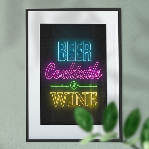 Beer Cocktails and Wine Wall Art Print