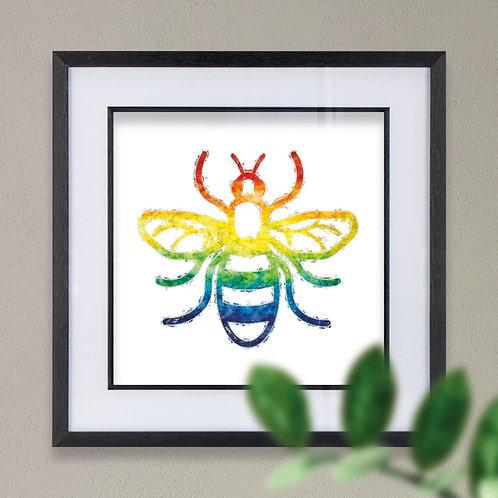 Framed Rainbow Multicolour Manchester Bee Wall Art Print