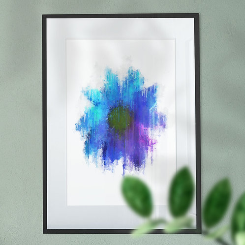Wall Art Print of a Blue Flower with a Grunge Effect